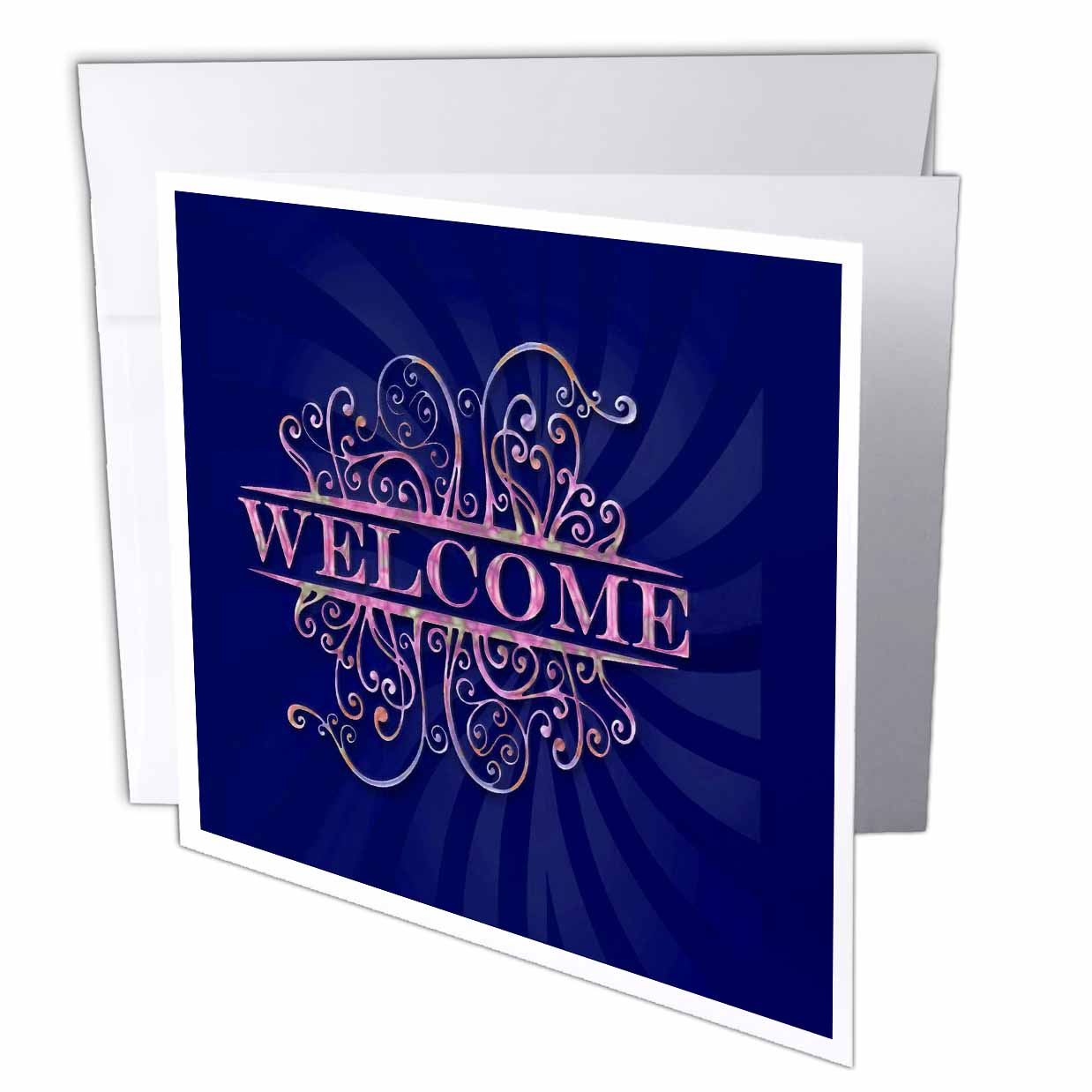 3dRose Welcome Home, Blue, Greeting Cards, 6 x 6 inches, set of 6