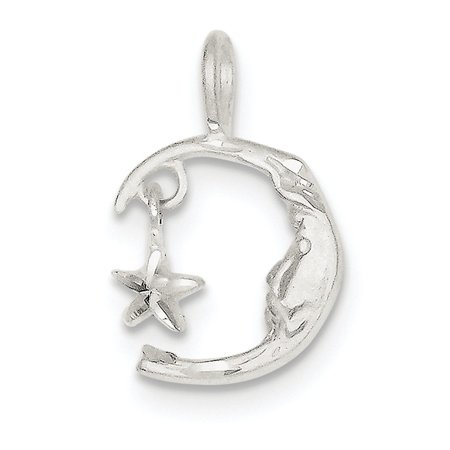 Sterling Silver Solid Satin Moveable Sparkle-Cut Moon and Star Charm - 1.6 Grams