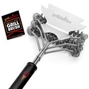 Grillaholics Bristle Free Safe Grill Brush, Safer than Grill Brushes with Wire Bristles, Professional Heavy Duty Stainless Steel, Grill Cleaner Healthier BBQ on Gas or Charcoal Grills