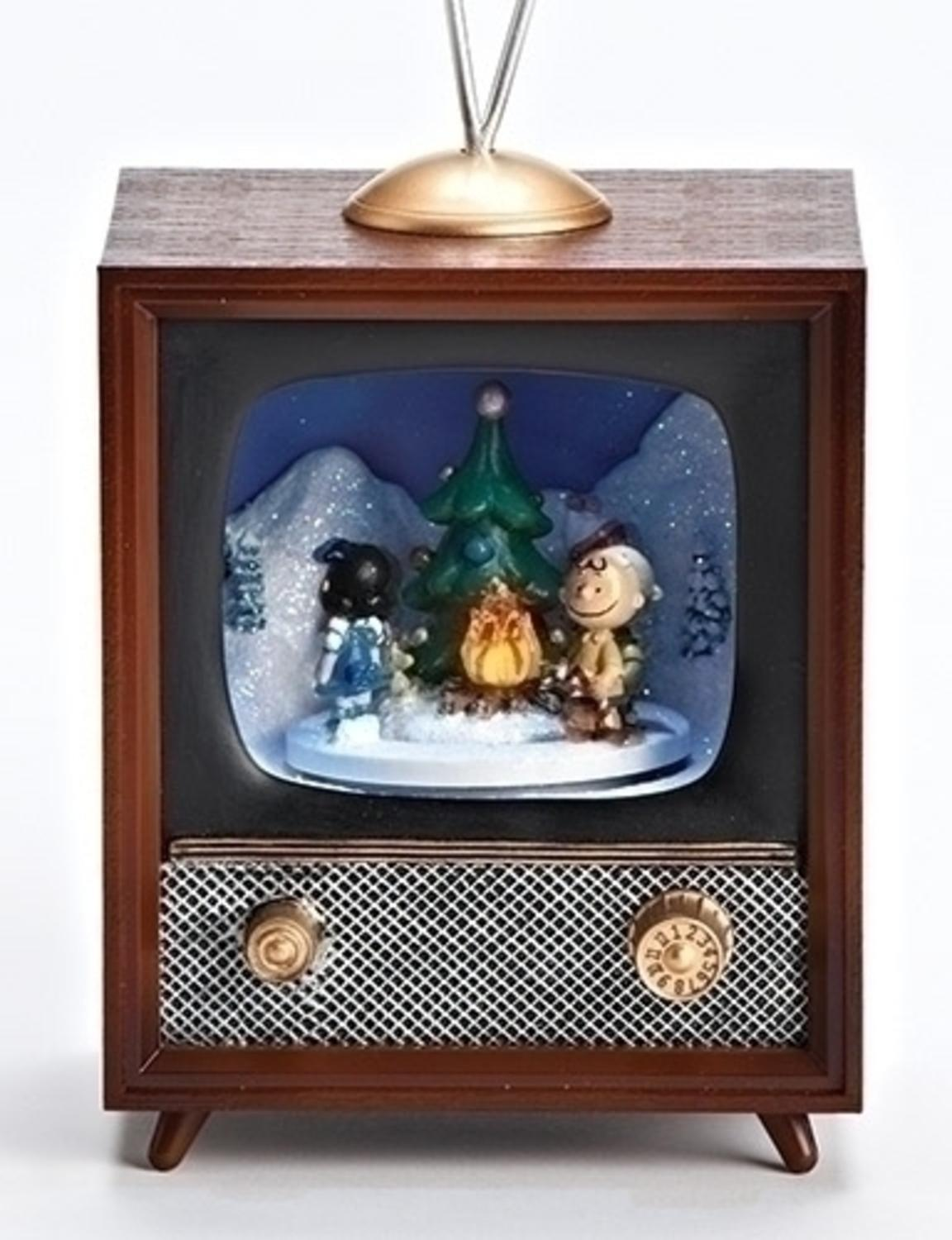 """10"""" Musical Peanuts Campfire Television Christmas Battery Operated Table Top Decoration"""