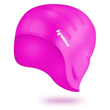 IPOW Ladies' Swim Cap Hat, Waterproof Over-the Ear Silicone Swimming Cap for Adults, Youth, Kids, Women&Girls with Long Hair or Short Hair-One Size, Rose