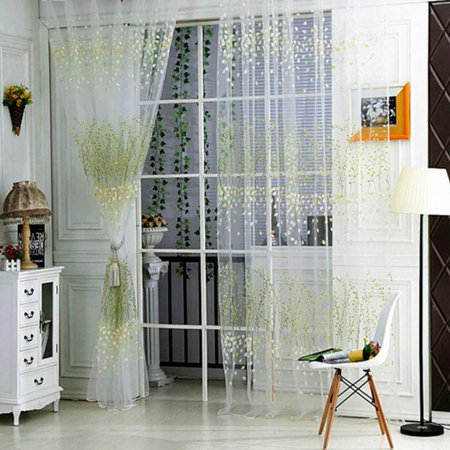1 PC Tulle Door Window Curtain Drape Panel Sheer Scarf Valances GN ()