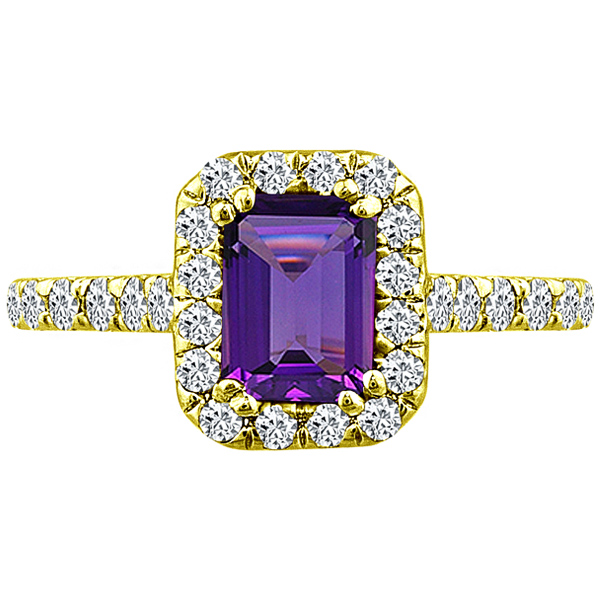 J&H 1.92 tcw Emerald Cut Amethyst & Round Diamond Halo Un...