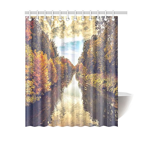 GCKG Autumn Landscape Shower Curtain River And Fall Trees Polyester Fabric Bathroom Sets With Hooks 60x72 Inches