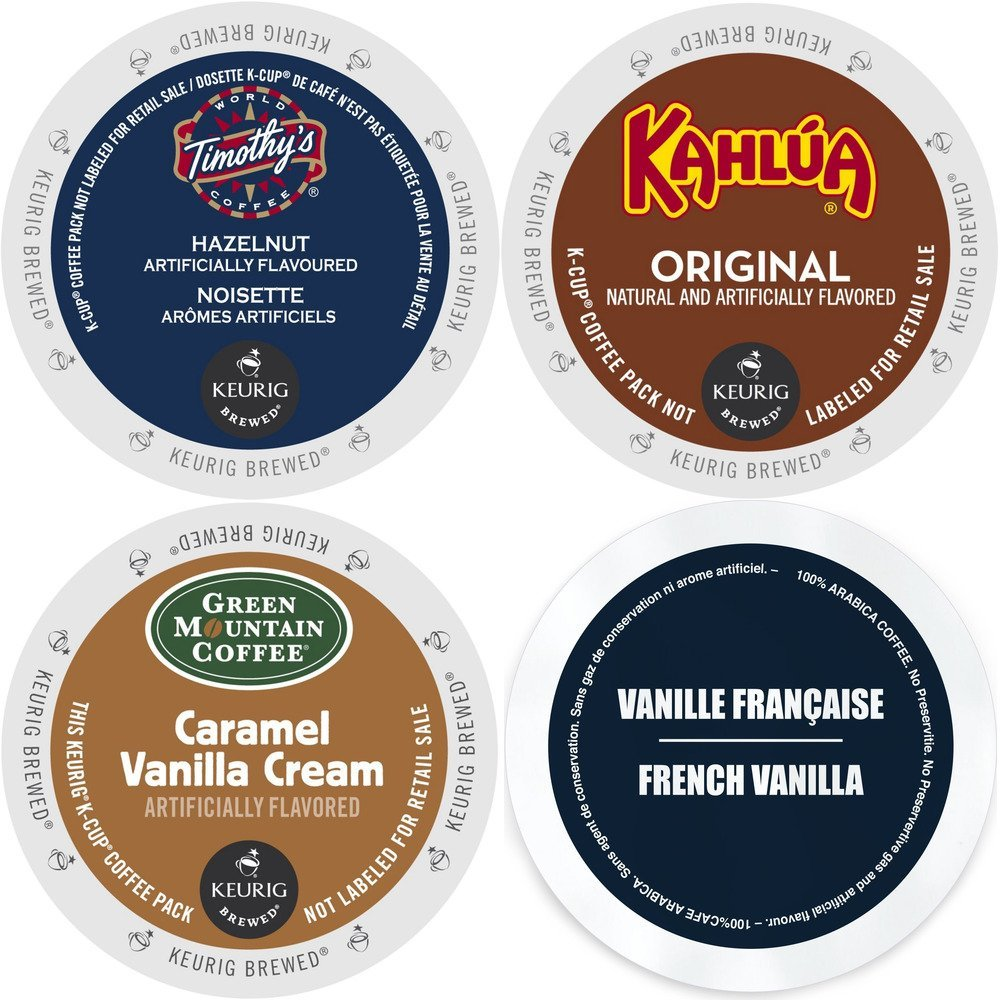 K-Cup Flavored Coffee Variety Pack Count Flavored Keurig 2.0 K Cup Sampler featuring Kahlua Faro French Vanilla Green Mountain Caramel Vanilla Cream and Timothy's Hazelnut for Keurig Brewers 4 x, each, 96