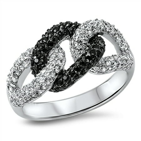 Chain Pave Ring - Sterling Silver Women's Flawless Black Cubic Zirconia Curb Chain Link Knot Micro Pave Ring (Sizes 6-10) (Ring Size 6)