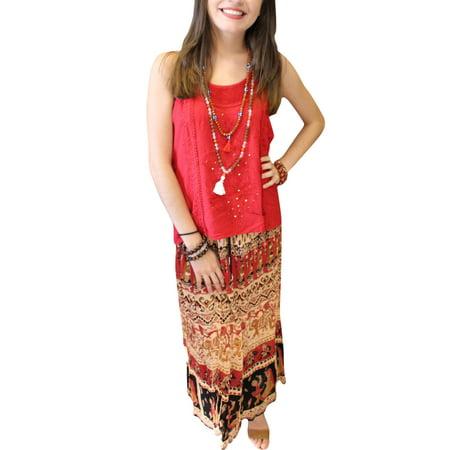 dc795141bac55 Mogul Interior - Mogul Women's Long Maxi Skirt Red Vintage Tribal ...