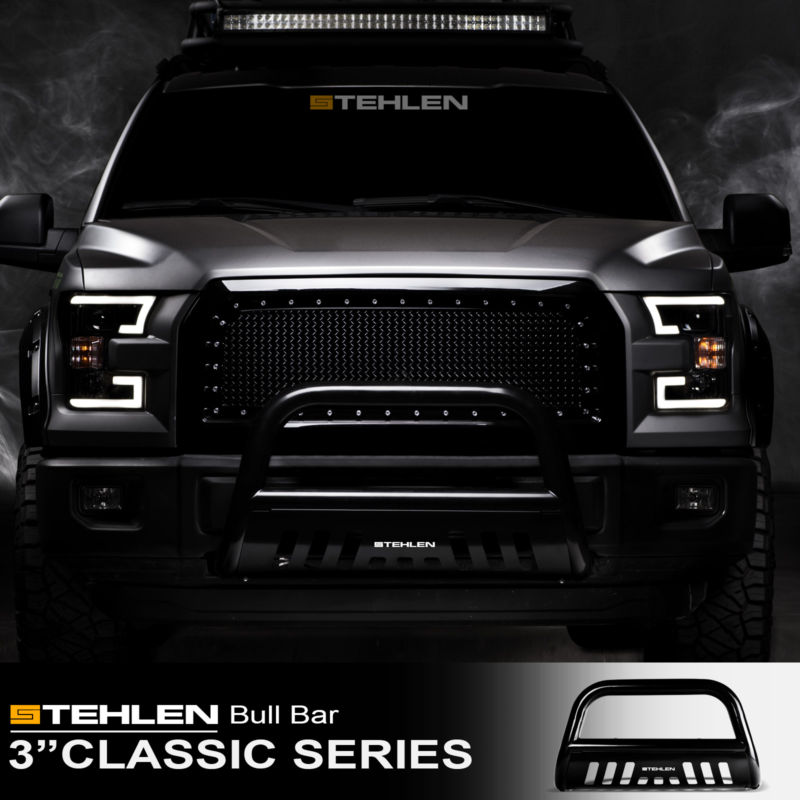 "Stehlen 714937182493 3"" Classic Series Bull Bar ( Black ) For 2007-2018 Toyota Tundra ; 2008-2017 Sequoia"