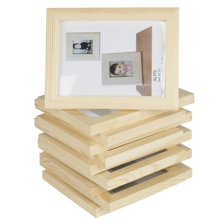 Wallniture Set of 10 Unfinished Solid Wood Photo Picture Frames 5x7 Inch , Ready to Paint for DIY Projects