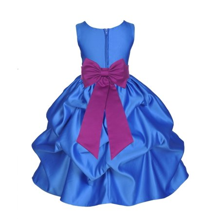 Holiday Dresses For Kids (Ekidsbridal Formal Bubble Satin Pick-up Royal Blue Flower Girl Dress Bridesmaid Wedding Pageant Toddler Recital Holiday Communion Birthday Baptism Recpetion Graduation Ceremony Special Occasions)