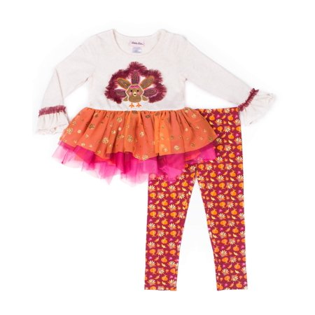 af9574ce30862 Little Lass - Thanksgiving Long Sleeve Tutu Dress & Leggings, 2 ...