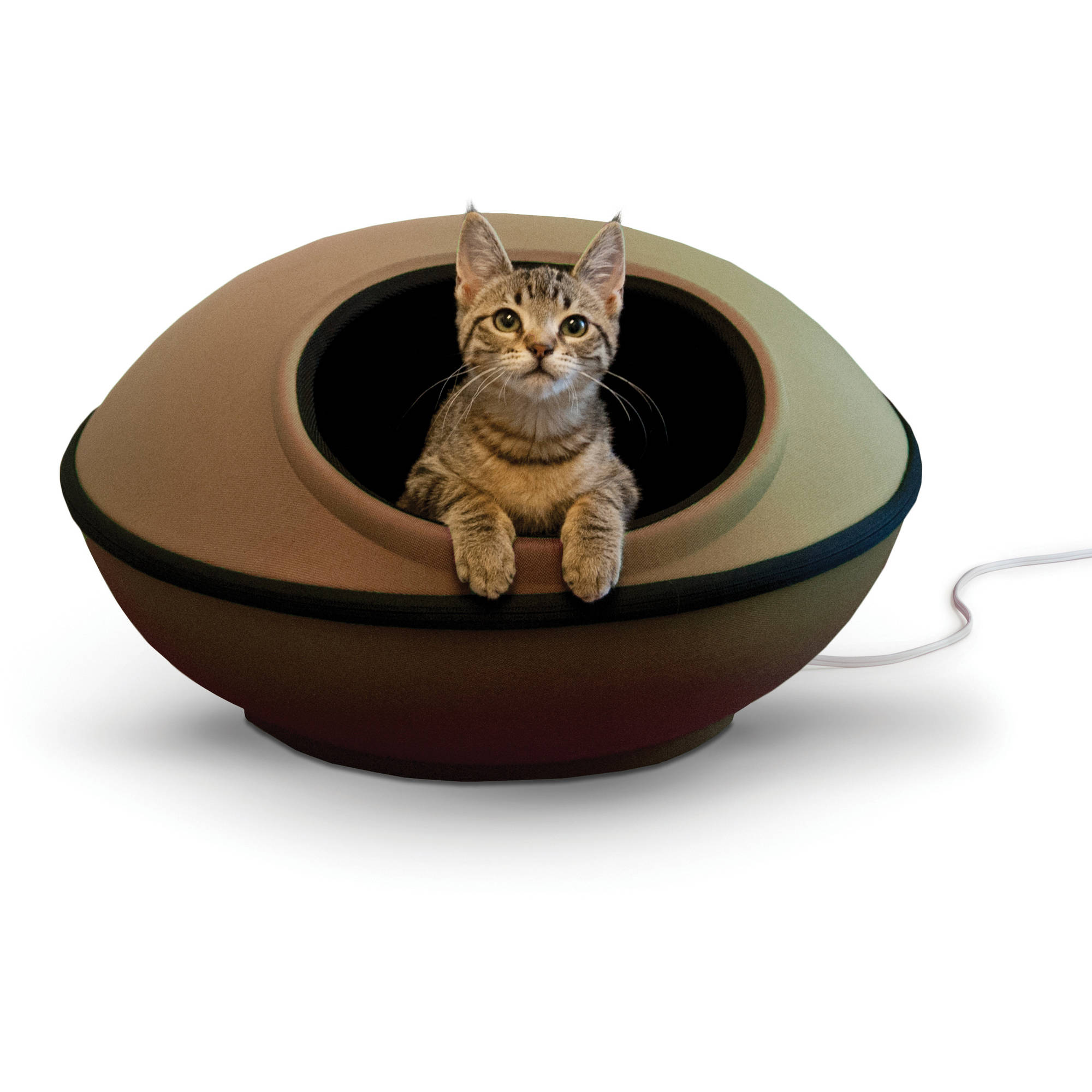 "K&H Pet Products Thermo-Mod Dream Pod Pet Bed, Small, 22""x22""x11.5"", Tan/Black"