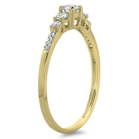 Dazzlingrock Collection 0.40 Carat (ctw) 14K Round Cut Diamond Ladies Bridal 5 Stone Engagement Ring, Yellow Gold, Size 8