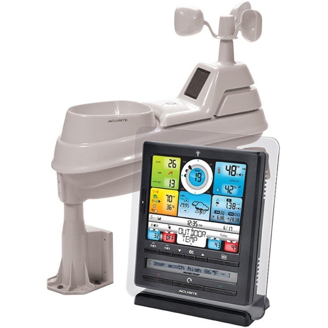 "AcuRite 8"" Pro Digital Weather Station with PC Connect. Professional Weather Station allows you to monitor conditions remotely from a PC or phone app."