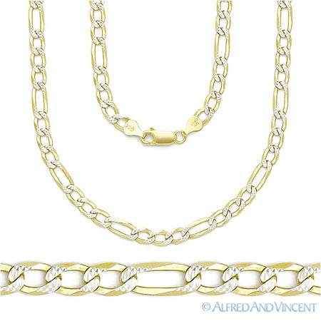 Diamond Cut Pave 4mm Figaro Link Chain Necklace in .925 Sterling Silver