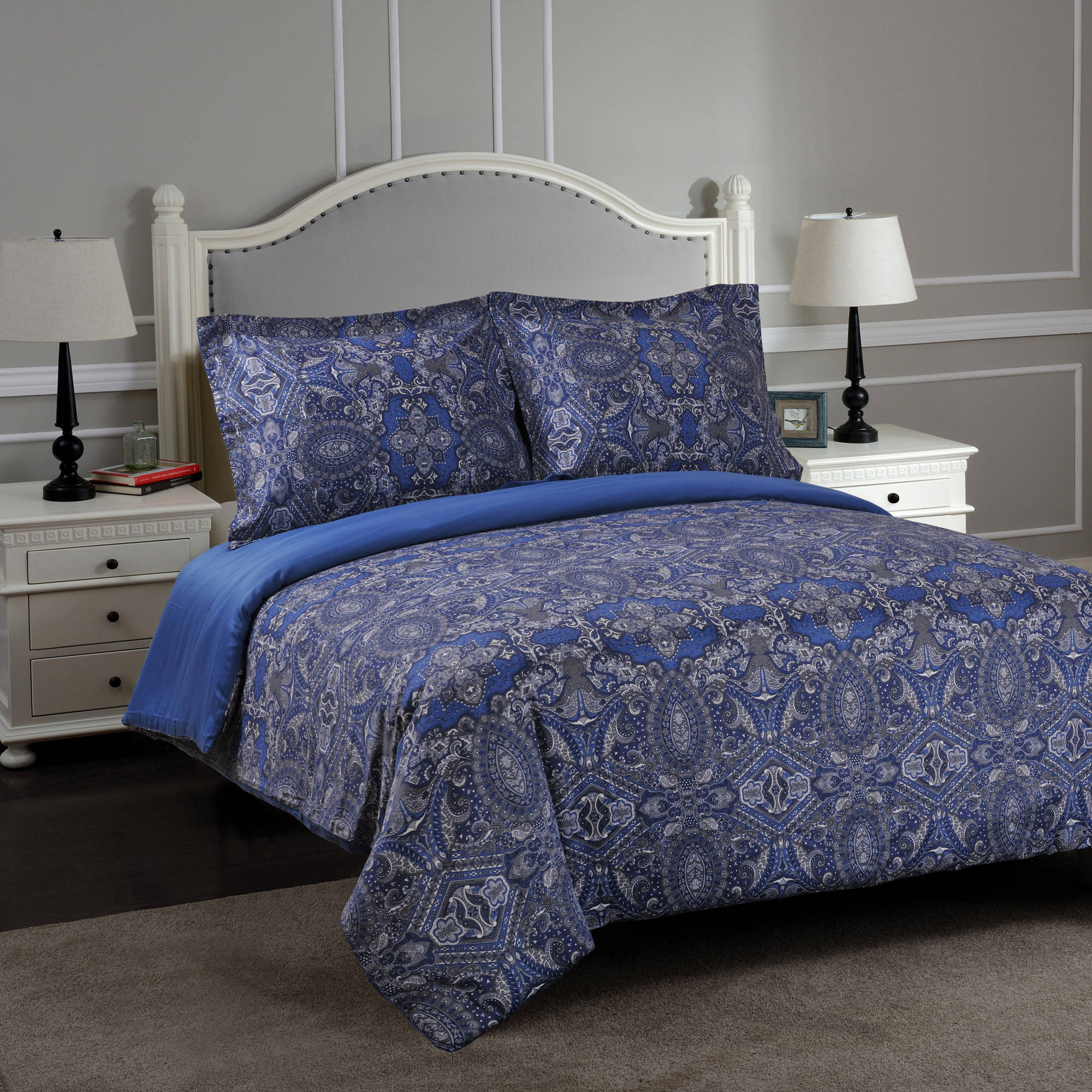 Superior Maywood 300-Thread-Count Cotton Print Reversible Duvet Cover Set