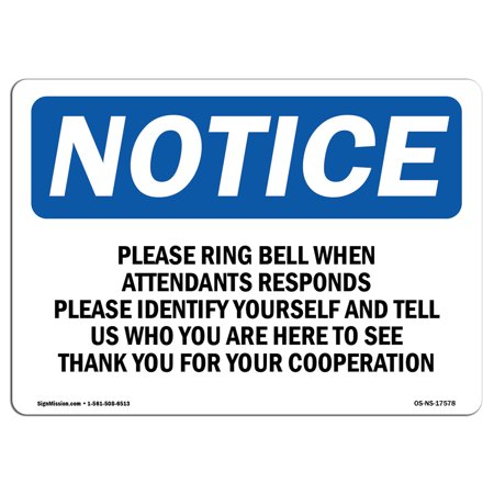 Wedding Attendants (OSHA Notice Sign - Please Ring Bell When Attendant Responds | Choose from: Aluminum, Rigid Plastic or Vinyl Label Decal | Protect Your Business, Work Site, Warehouse & Shop Area)