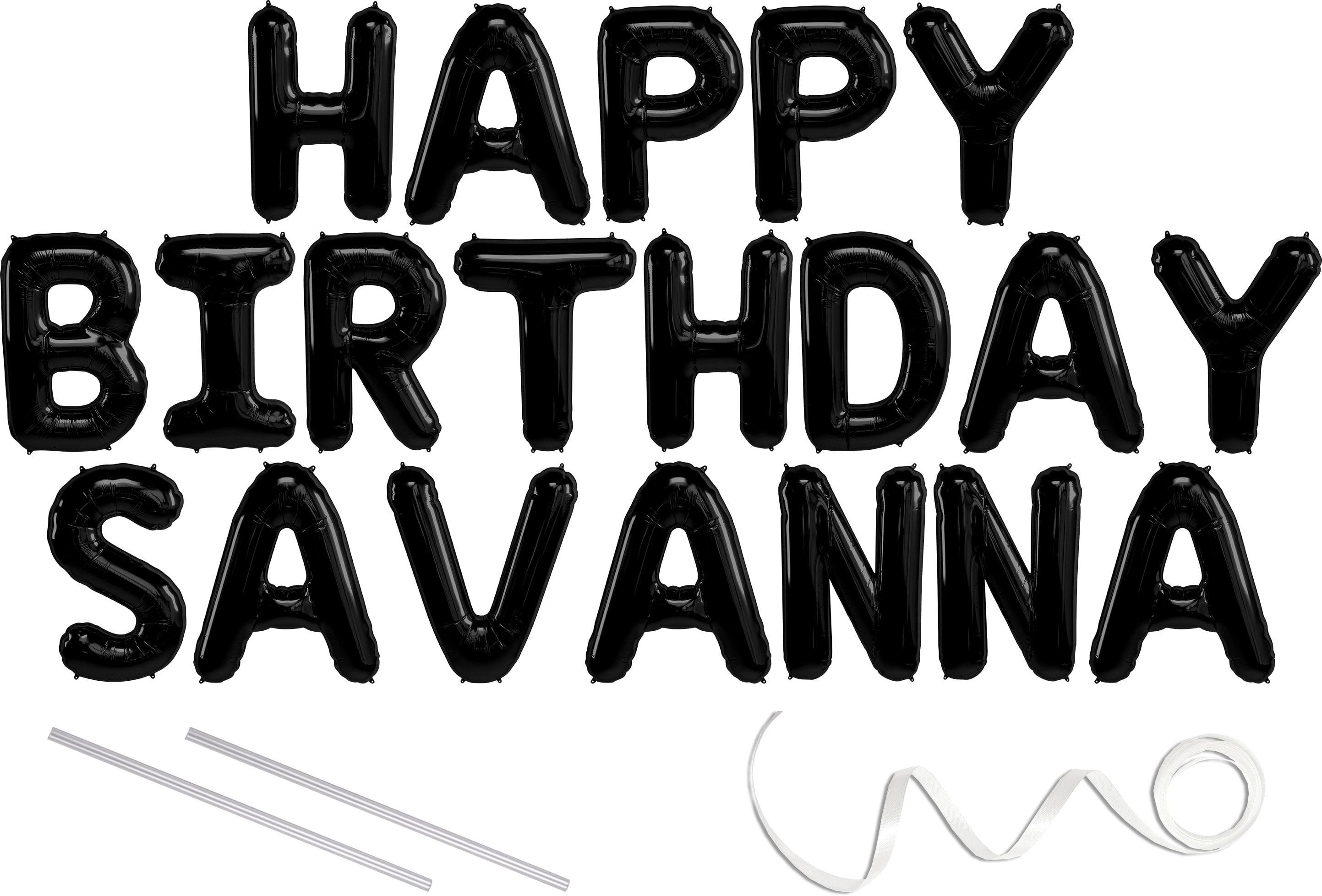Savanna, Happy Birthday Mylar Balloon Banner
