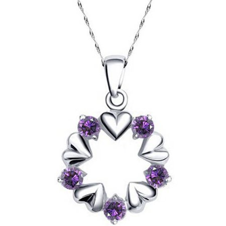 Am Line Voltage Pendant (A&M Designer Inspired Silver-Tone Purple Open Circle Heart Necklace,)