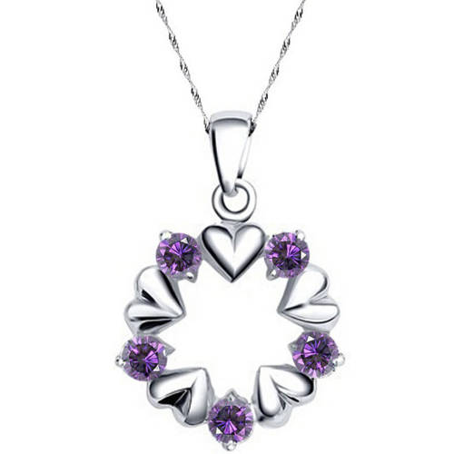 A&M Designer Inspired Silver-Tone Purple Open Circle Heart Necklace, 18""