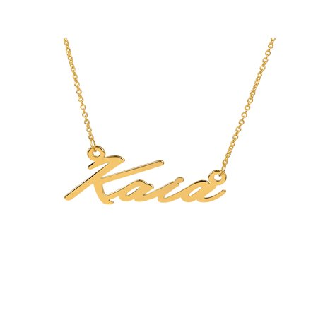 "Personalized 14K Yellow Gold Over Sterling Silver ""Kaia"" Single Nameplate Necklace With 18 inch Link Chain"