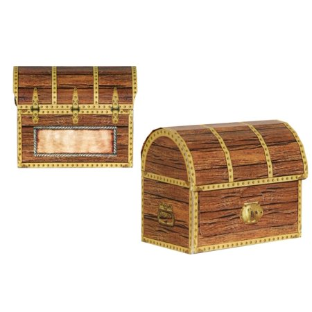 48 Brown Pirate Birthday Party 3-D Treasure Chest Favor and Treat Boxes 4.25