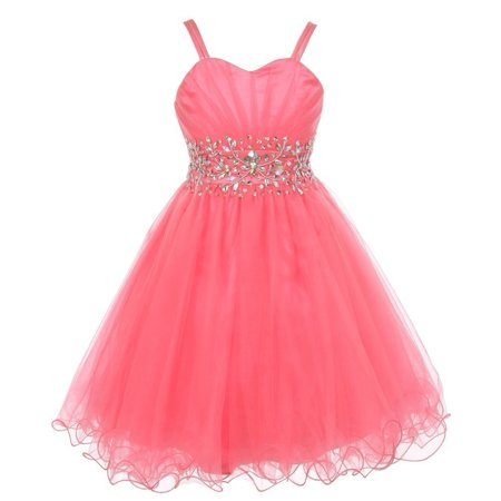 Girls Coral Stone Encrusted Pleated Tulle Junior Bridesmaid Dress 8-16