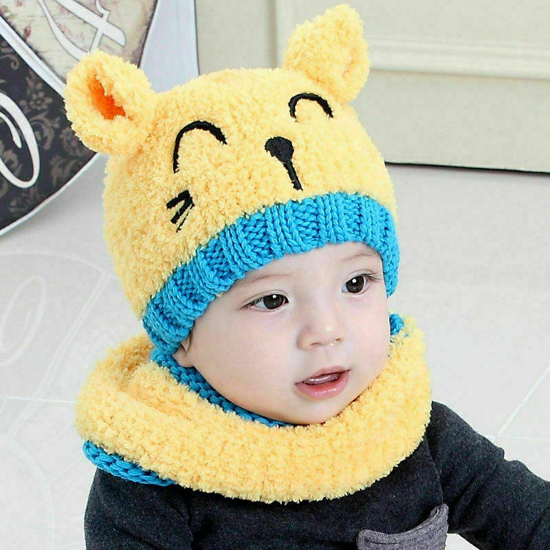 Cute Baby Toddler Winter Cat ears Warm Hat Hooded Scarf Earflap Knitted Cap Kids