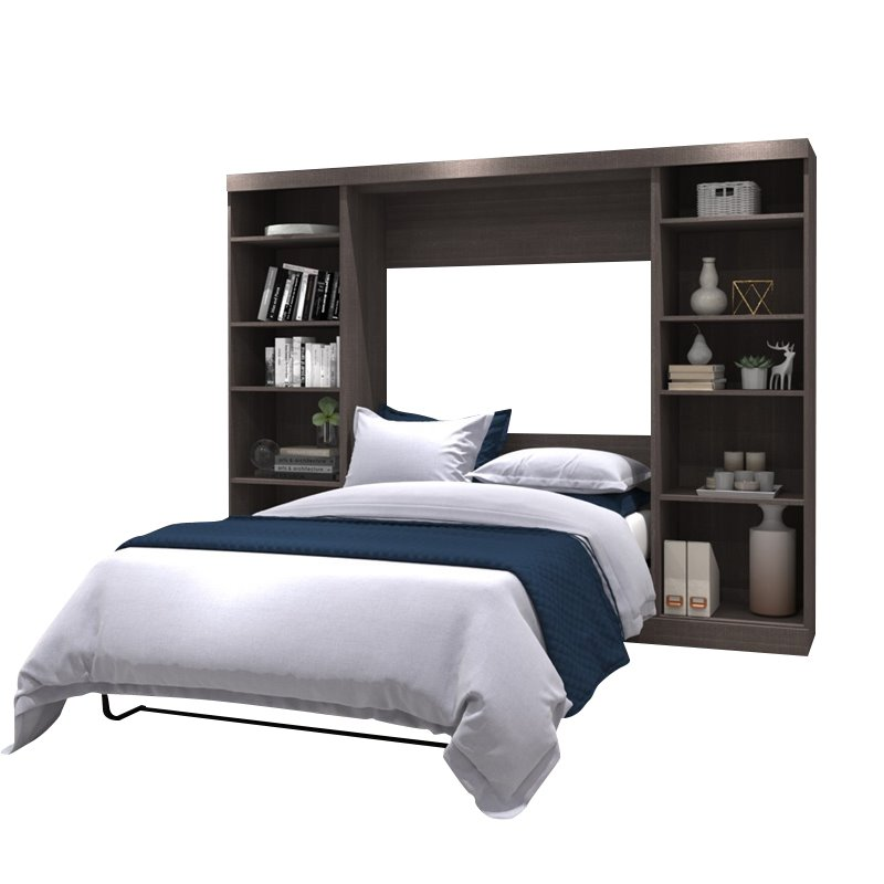 """Atlin Designs 109"""" Full Wall Bed with Storage in Bark Gray"""