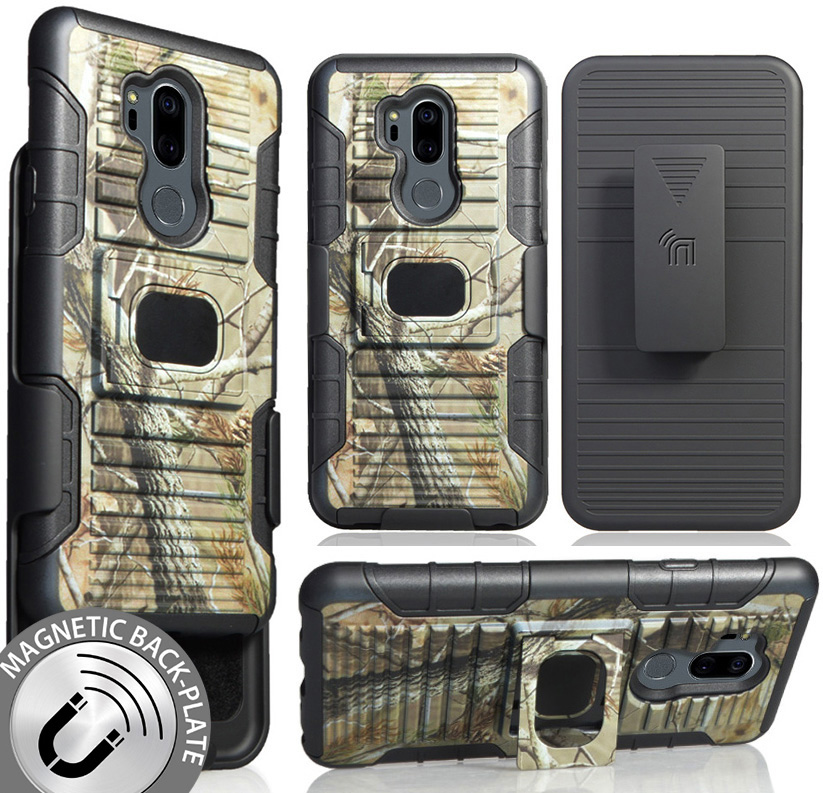 LG G7 ThinQ Camo Case with Clip, Nakedcellphone [Camouflage] Tree Leaf Real Woods Ring Grip Cover + Belt Hip Holster Stand [with Built-In Mounting Plate] for LG G7 ThinQ Phone, G710, G7 Plus, G7+