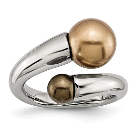 Stainless Steel Champagne & Brown Simulated Pearl Ring - Size (Genuine Champagne Pearl)