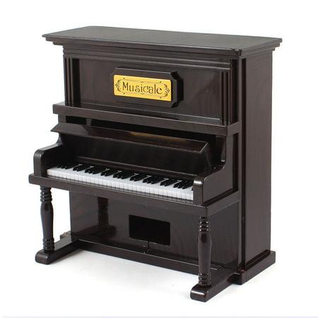 Simulation Piano Shape Music Box Desktop Decoration for Children Kids Dark Brown