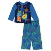Emoji Boys' Pajama Fleece Long Sleeve Shirt and Lounge Pants Sleepwear Set, Digital Blues, Size: 8