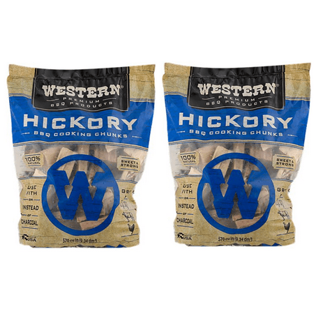 (2 pack) Western Premium BBQ Products Hickory Cooking Chunks, 570 CU. IN. (Chunk Deck)