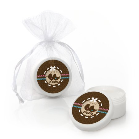 Twin Baby Carriages 1 Boy & 1 Girl - Baby Shower Lip Balm Favors - Set of 12