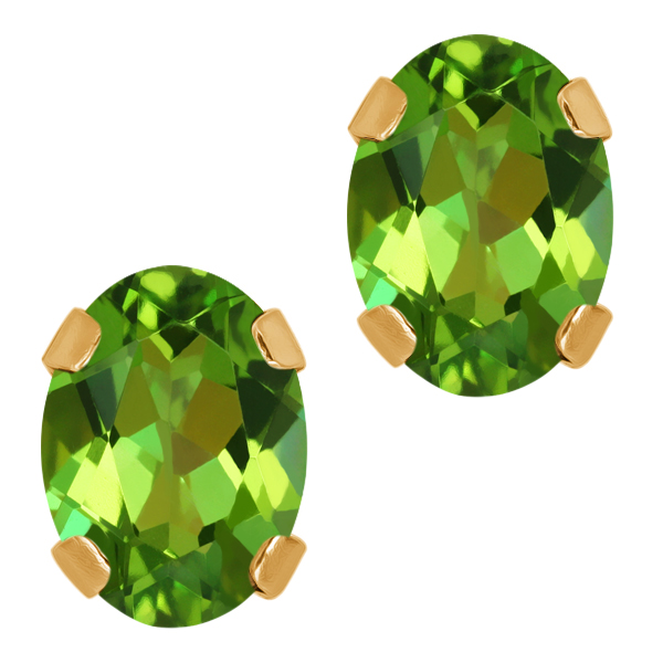 1.80 Ct Oval Emerald Envy Topaz 14K Yellow Gold 4-prong Stud Earrings 7x5mm