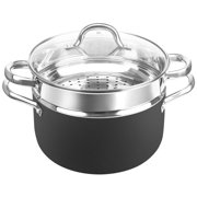 SHINEURI Copper Nonstick 6 Quart Covered Stock Pot with Stainless Steel Steamer Insert,Ceremic Coating Copper Cookware Pot Set,3 Pieces Stockpot Set(Black)