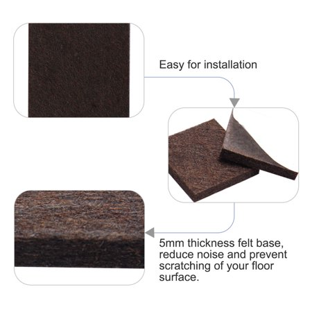"""Felt Pad Square 7/8"""" Self Sticky for Floor Protector Table Leg Brown, 36pcs - image 6 of 7"""