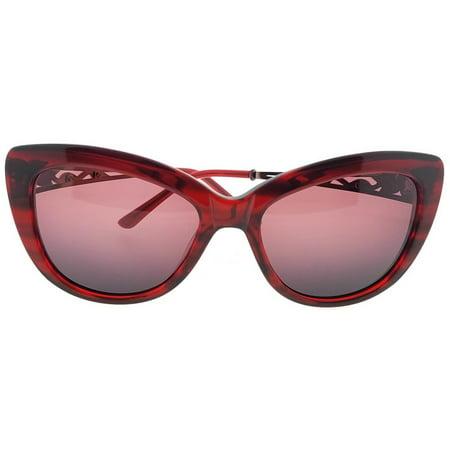 Judith Leiber JL5008-06-58 Cat Eye Women's Red Frame Pink Lens Sunglasses NWT Burgundy Gradient Lens