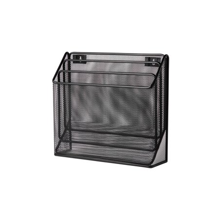 Pro Space Wall Mount Magazine Rack Letter Holder Mesh Standing File Organizer, 3 Tier, Black ()