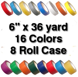 Vinyl Marking Tape 6 inch x 36 yard (8 Roll Case) - Clear