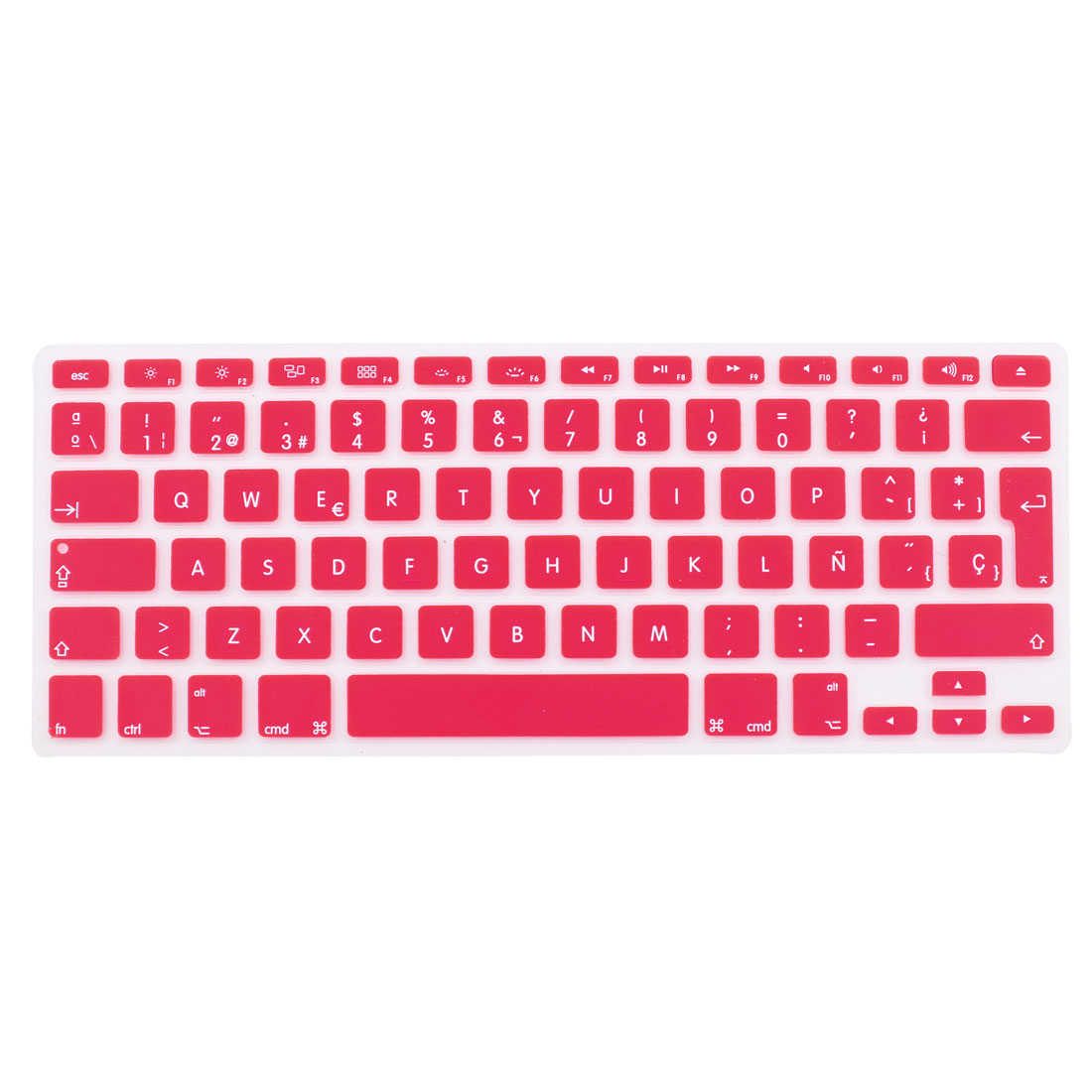 """Unique Bargains Spanish Silicone Keyboard Skin Cover Pink for Apple Macbook Air 13""""15""""17"""" EU"""