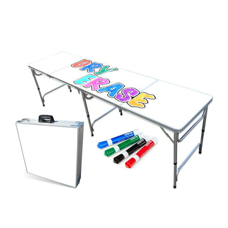 Portable Folding Table with Dry Erase Surface and Markers - Adjustable Length (8 ft or 4 ft) Kids and Adult Party Table