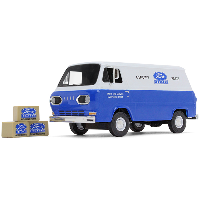 1960's Ford Econoline Van Blue with Three Boxes Ford Tractor Parts & Service 1 25 Diecast... by First Gear