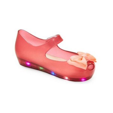 Little Girls Red LED Light Up Flashing Bow Jelly Shoes (Halloween Jello Shots For Adults)