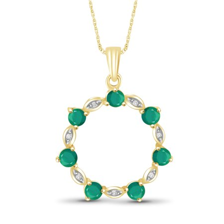 Diamond Accented Circle Pendant - JewelersClub 1 1/3 Carat T.G.W. Emerald and White Diamond Accent 14kt Gold Over Silver Circle Pendant