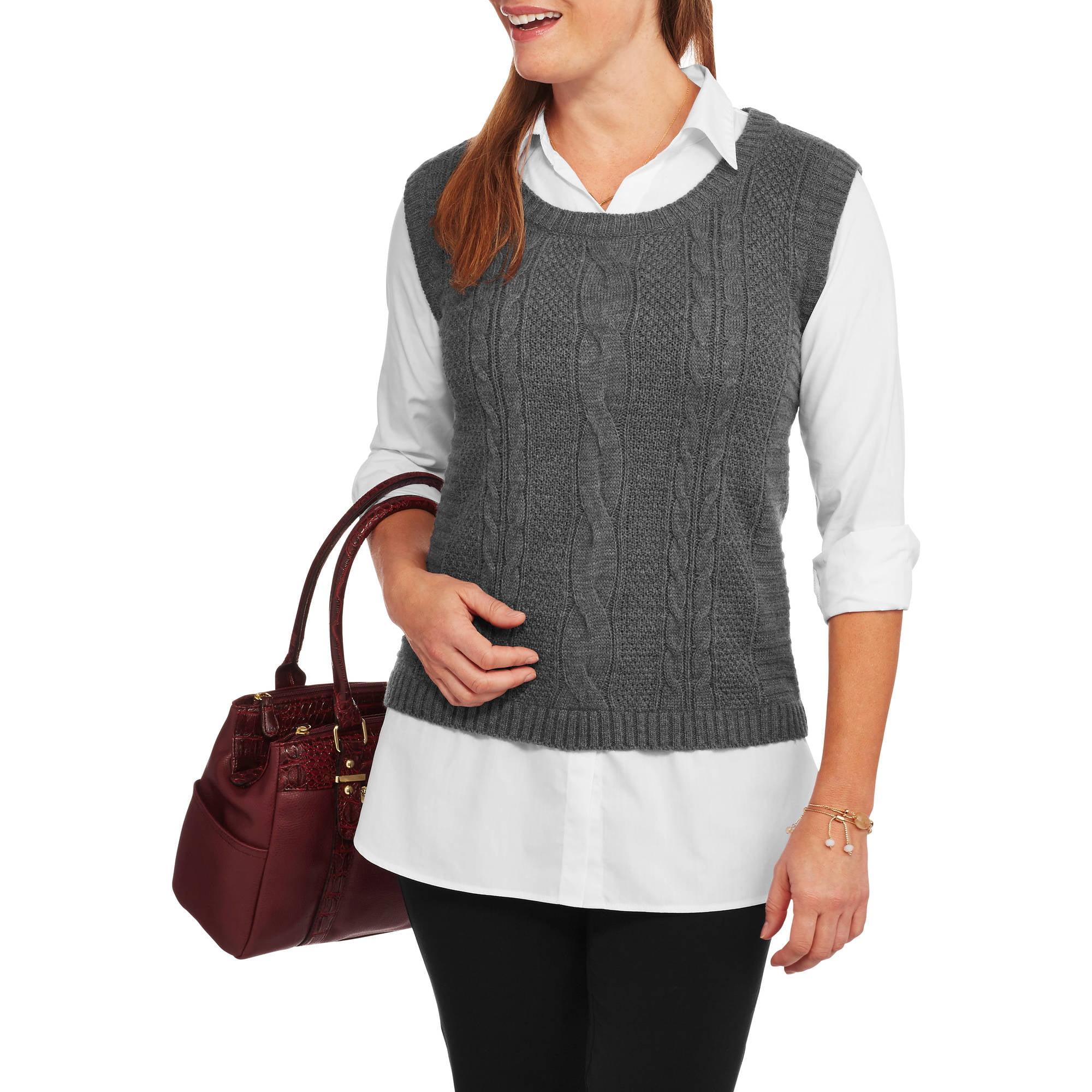Faded Glory Women's 2fer Blouse Sweater Vest - Walmart.com