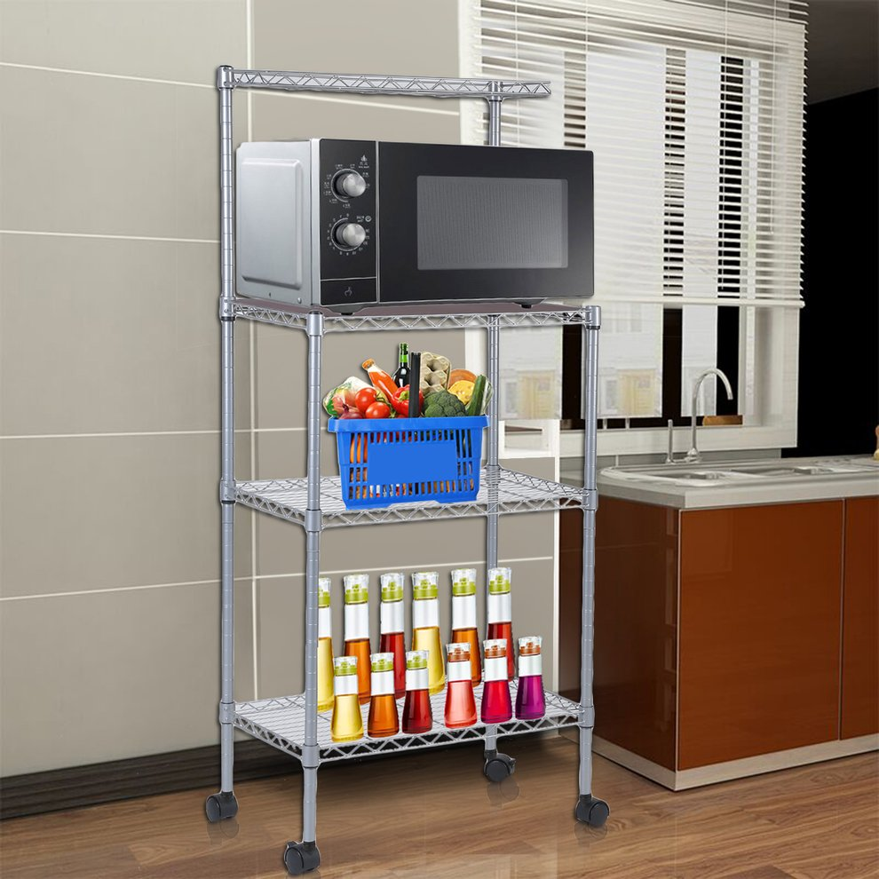 Microwave Oven Stand With Wheels 3-Tier Removable Kitchen...