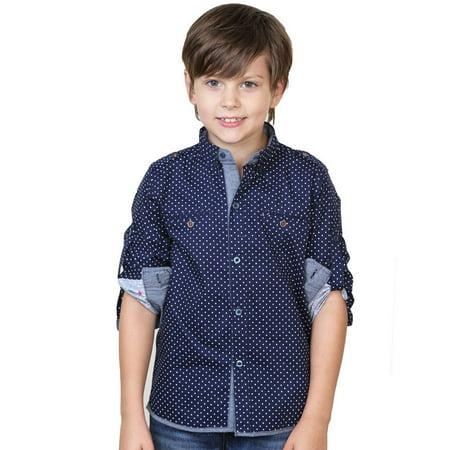 Leo&Lily Boys' Long Sleeve Polka Dot Button Down Woven Dressing Shirt Navy