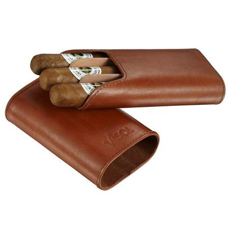 Visol  Cuero Genuine Tan Leather 3-Finger Cigar Case